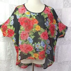 BCNU Sheer Bright Floral Tapestry High Low Blouse